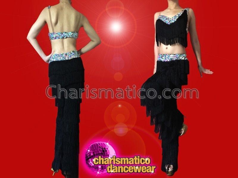 2de922860 CHARISMATICO Fancy Iridescent Silver Sequin Trimmed Asymmetrical Black  Fringe Dance Pants