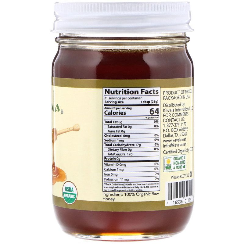 Kevala عسل أواكساكا خام عضوي 16 أوقية 454 غرام Nutrition Facts Carbohydrates Raw Honey