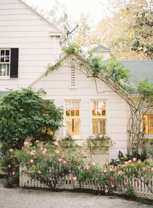White Shabby Chic Cottage Style House Exterior With Rose Bushes Crawling Plants And Picket Fence