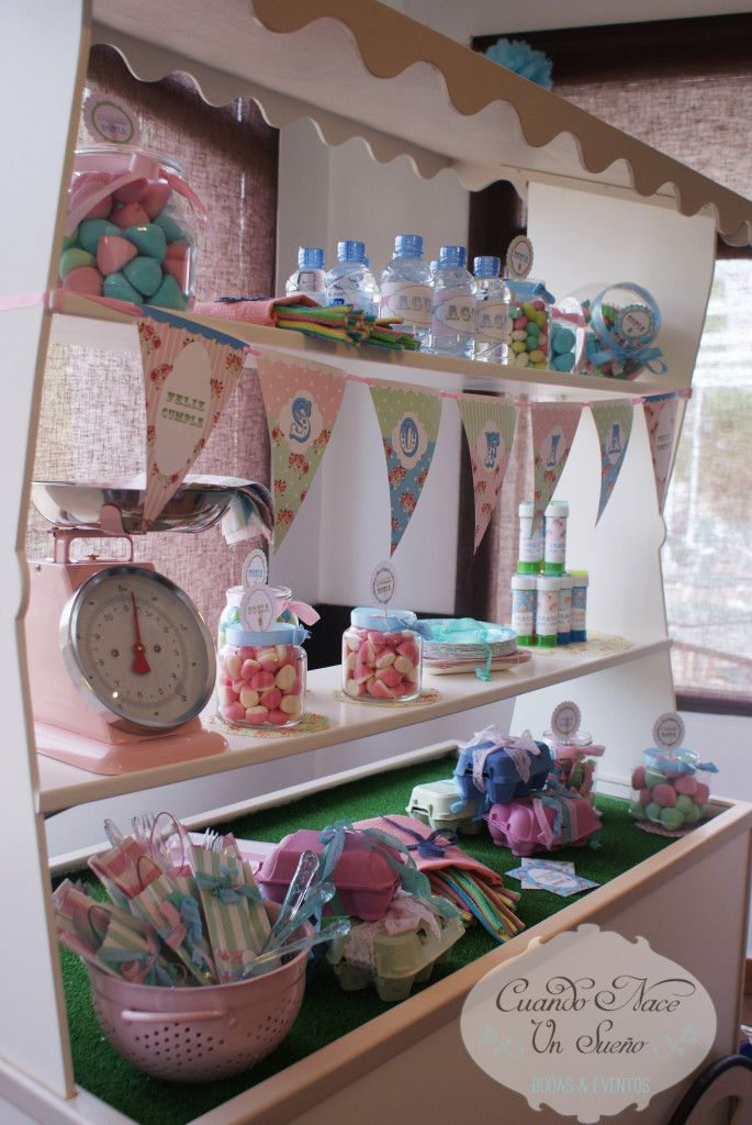 Fiesta de cumplea os infantil fiesta tem tica vintage - Mesa dulce infantil ...