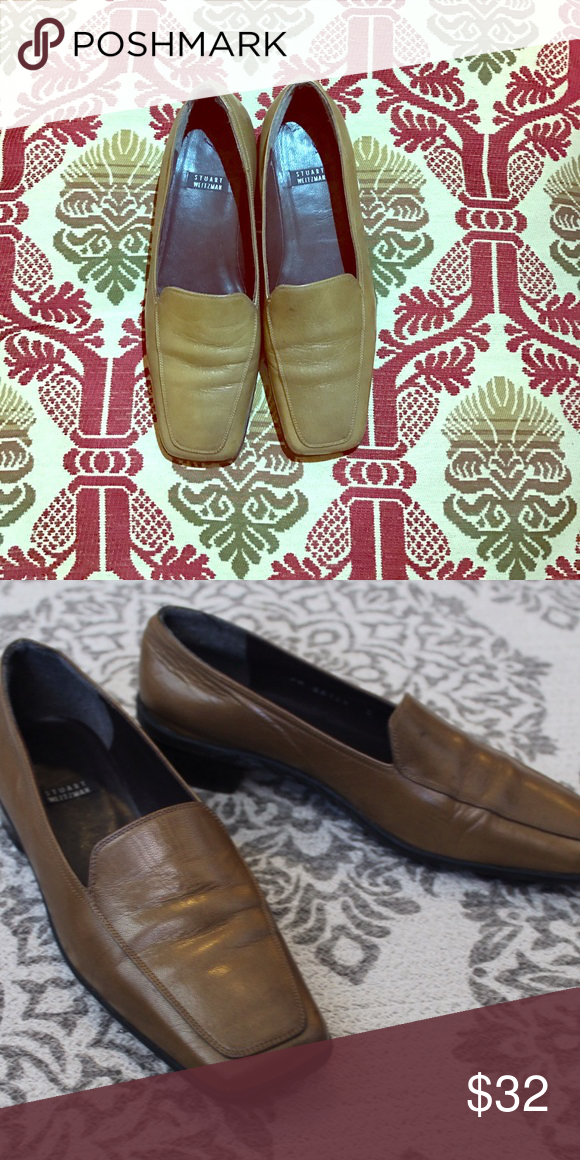 Stuart Weitzman 90s Leather Loafers Super cute leather loafers, pre loved. Vintage item from the 1990s hardly any sign of wear. Greenish, brownish color khaki. Stuart Weitzman Shoes Flats & Loafers