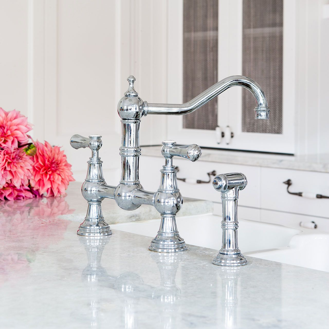 Perrin and Rowe 4756 Provence bridge tap with lever handles and ...