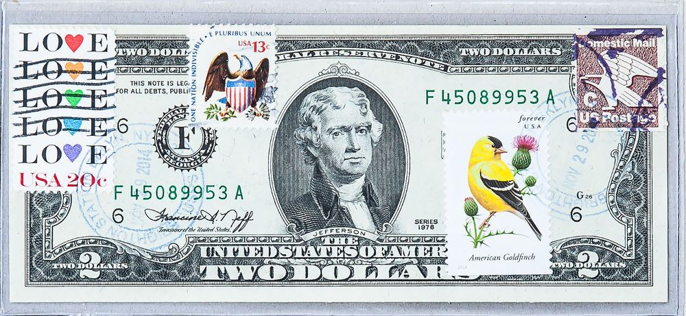 US Currency Paper Money 2 Dollar Bill 1976 F Unc Collection Stamp Bird