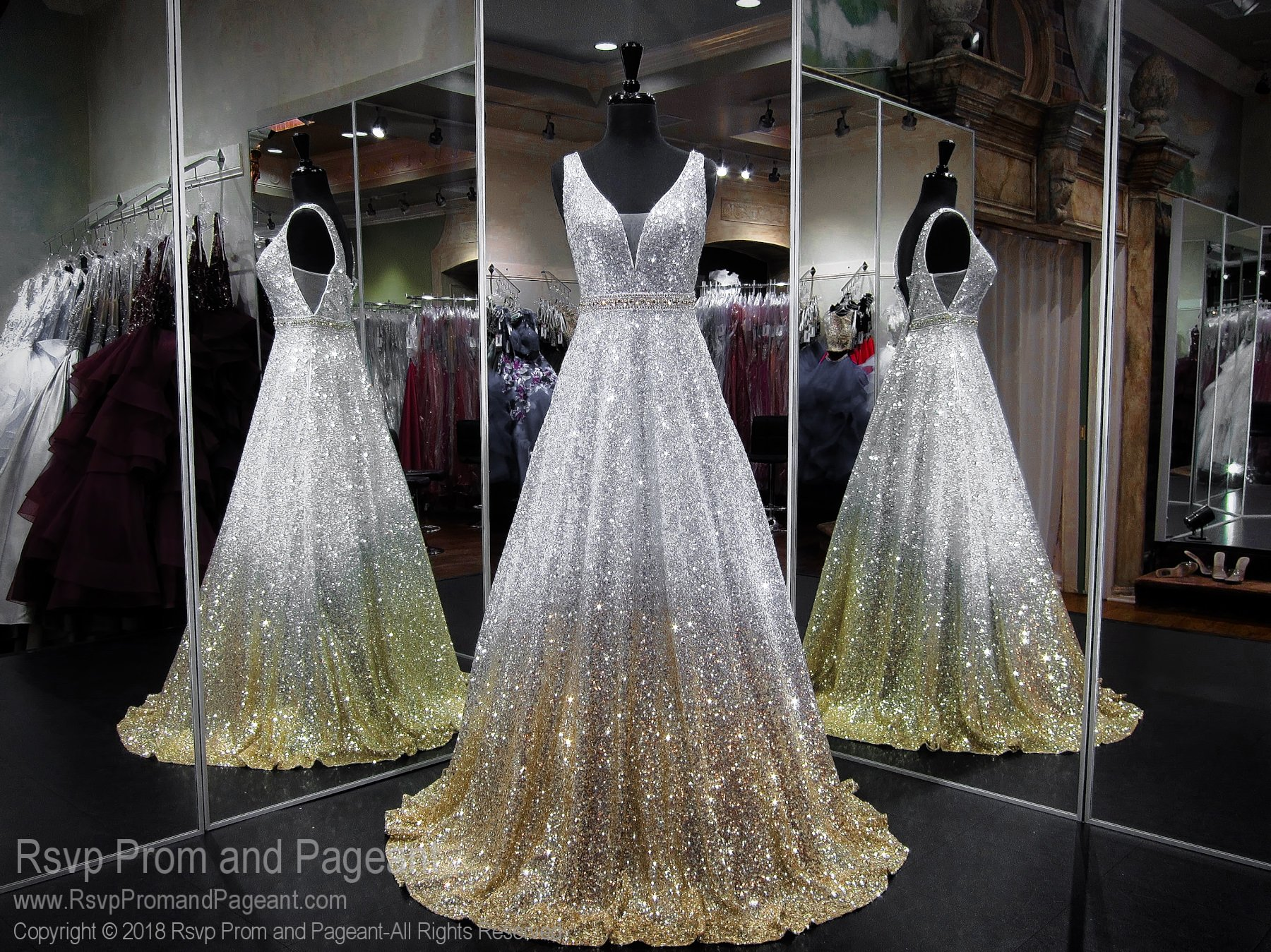 ef378687f50 Silver Ombre V- Neck Open Back Sequin Ball Gown