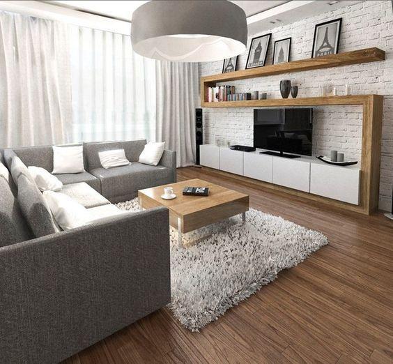 wohnungseinrichtung ideen wohnzimmer graues ecksofa wohnwand holz weisse ziegelwand wohnzimmer. Black Bedroom Furniture Sets. Home Design Ideas
