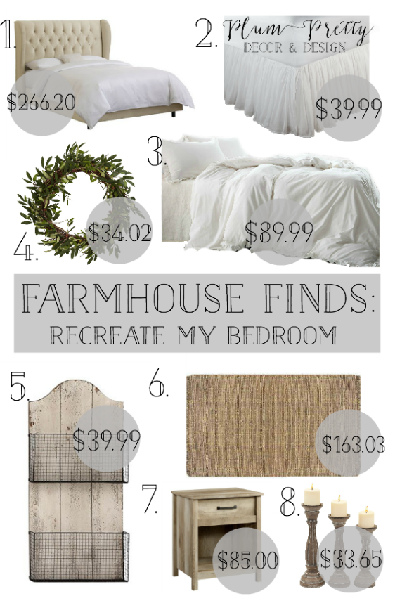 Friday Farmhouse Finds Affordable Farmhouse Bedroom Decor is part of Farmhouse bedroom Bedding - This weeks theme is farmhouse bedroom decor  I included items to help you recreate the style of my bedroom  The wire basket wall hanging is to replace my antique drying racks  And its perfect for styling with books and greenery in the baskets    Schedule