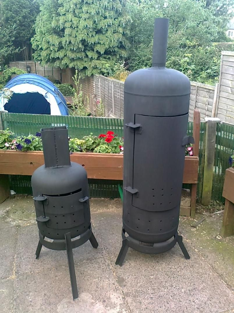 Garden wood burners made by my husband. | Gas bottle wood ...