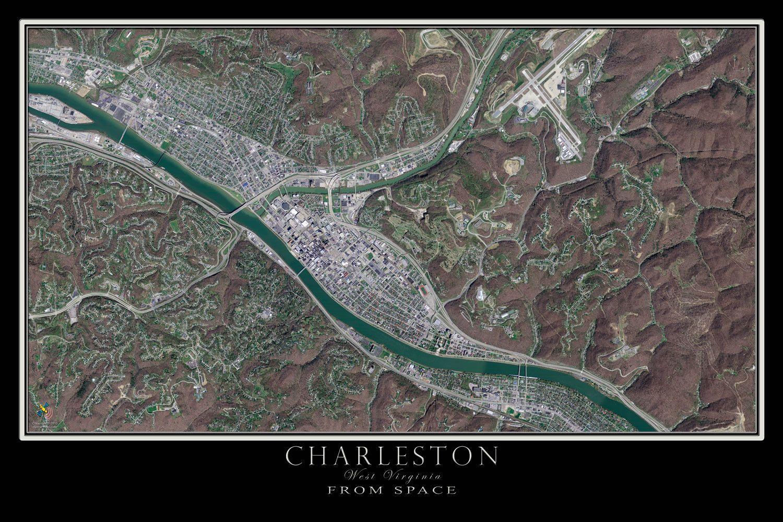 Charleston West Virginia Satellite Poster Map Charleston west