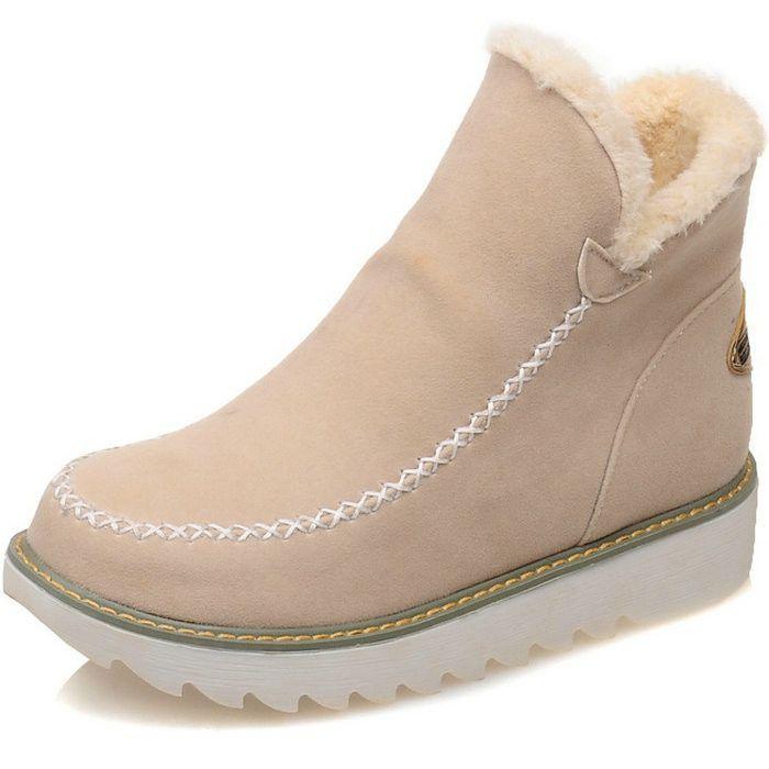 Big Size 34-43 Women Ankle Boots Flock Round toe Gladiator Shoes Women Fur Warm Autumn Winter Shoes for Women Snow Boots Botas
