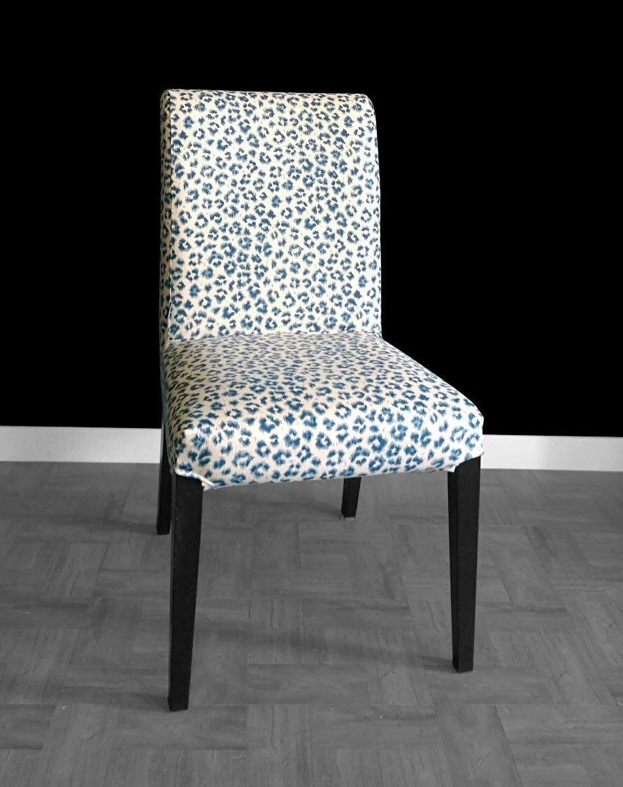 Navy Leopard Print IKEA HENRIKSDAL Chair Cover by