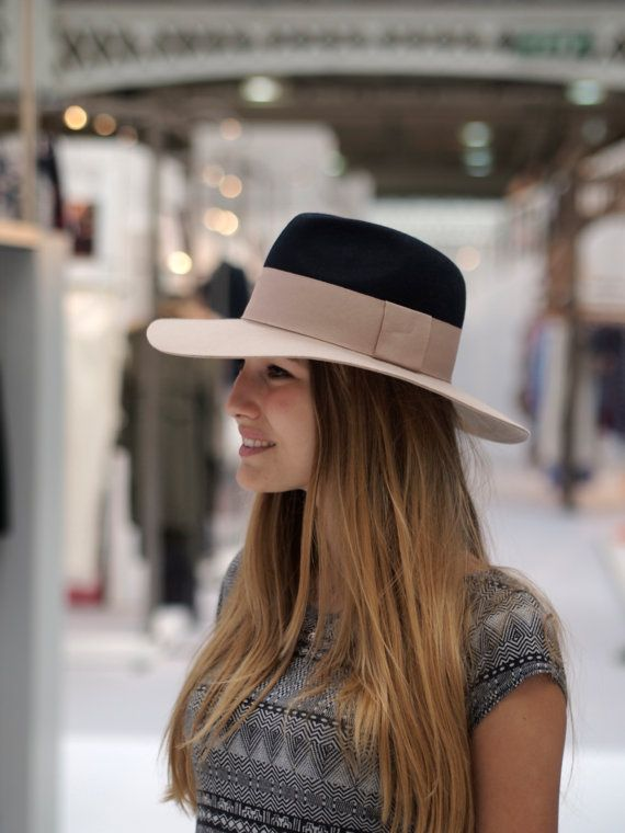 210248b0879 Two Tone Navy Top Lazy Fedora with floppy brim in pure felt