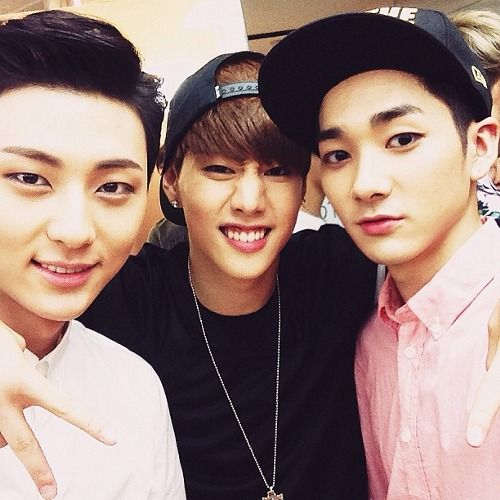 Mark with Nu'est's Aron and Minhyun