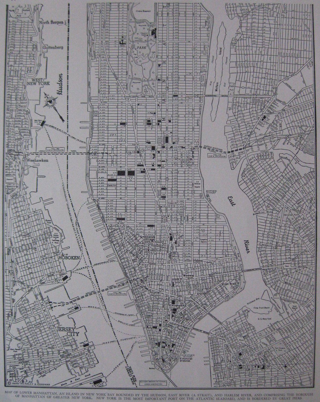 1941 MAP of MANHATTAN Map New York