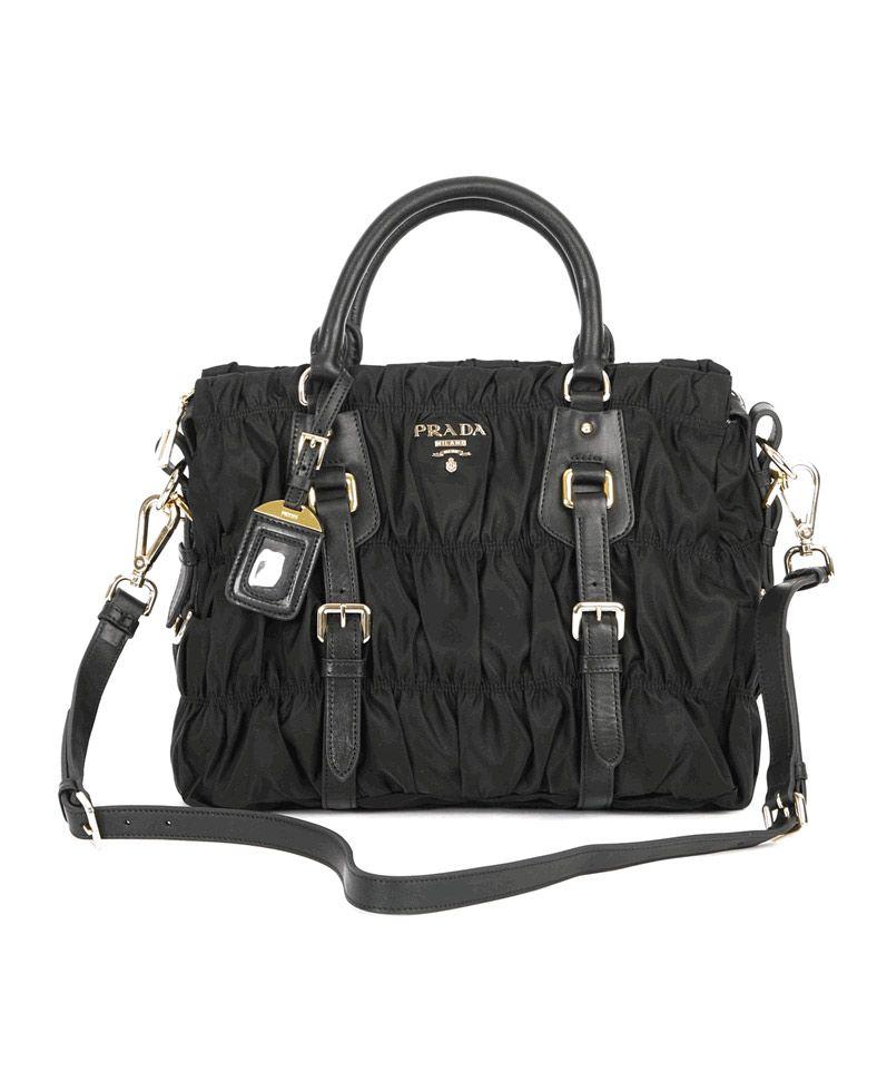 ddc28ebe684a Prada Gaufre Nylon Tessuto Handbag BN1336 Black  BN1336NylonBlack  -   429.00   9PmAve.com