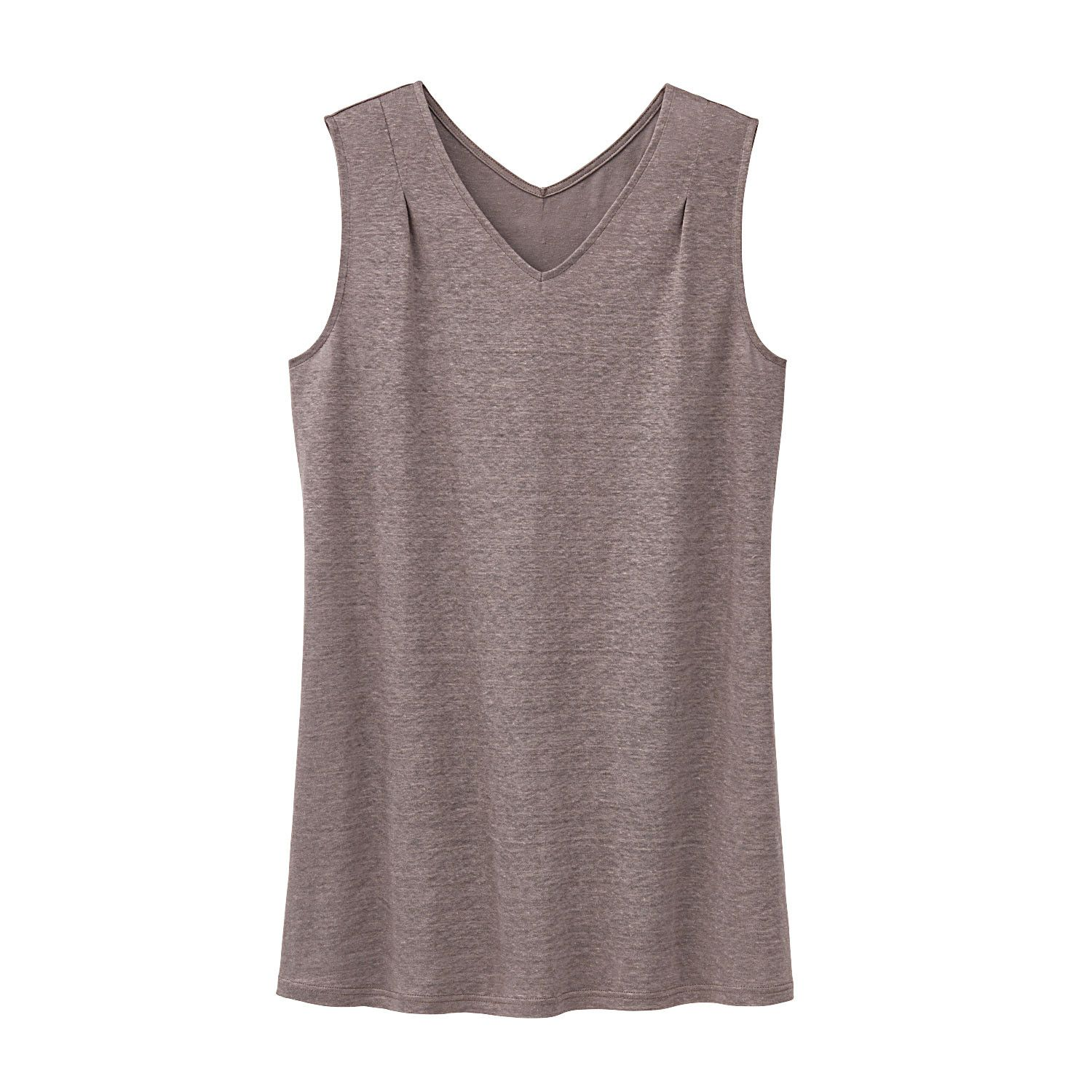 Leinenjersey-Longtop, taupe