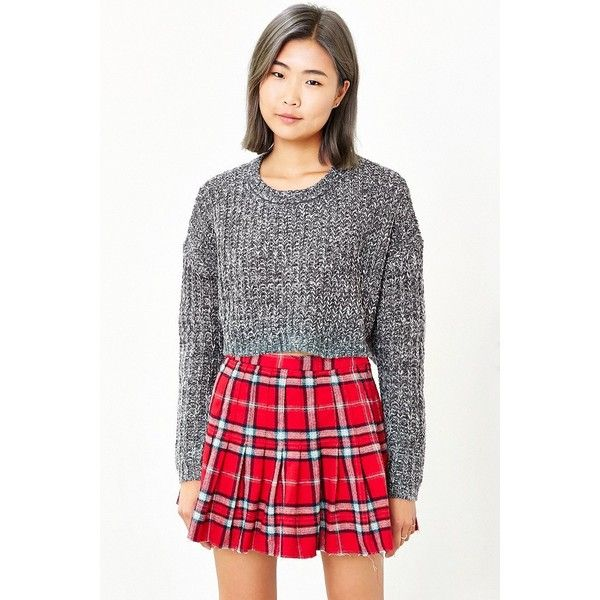 Ecote Amelia Cropped Sweater ($40) ❤ liked on Polyvore featuring tops, sweaters, black, slouchy tops, black slouchy sweater, black top, black crop top and cropped sweater