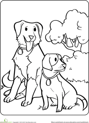 Sitting Dogs Coloring Page (With images) | Dog coloring ...