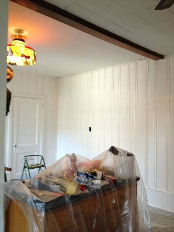Half Wall Wood Paneling: Wood Paneling Makeover Ideas Kitchen
