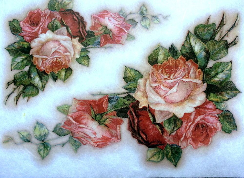 Roses England Rice Paper for Decoupage Scrapbooking Sheet Craft Vintage