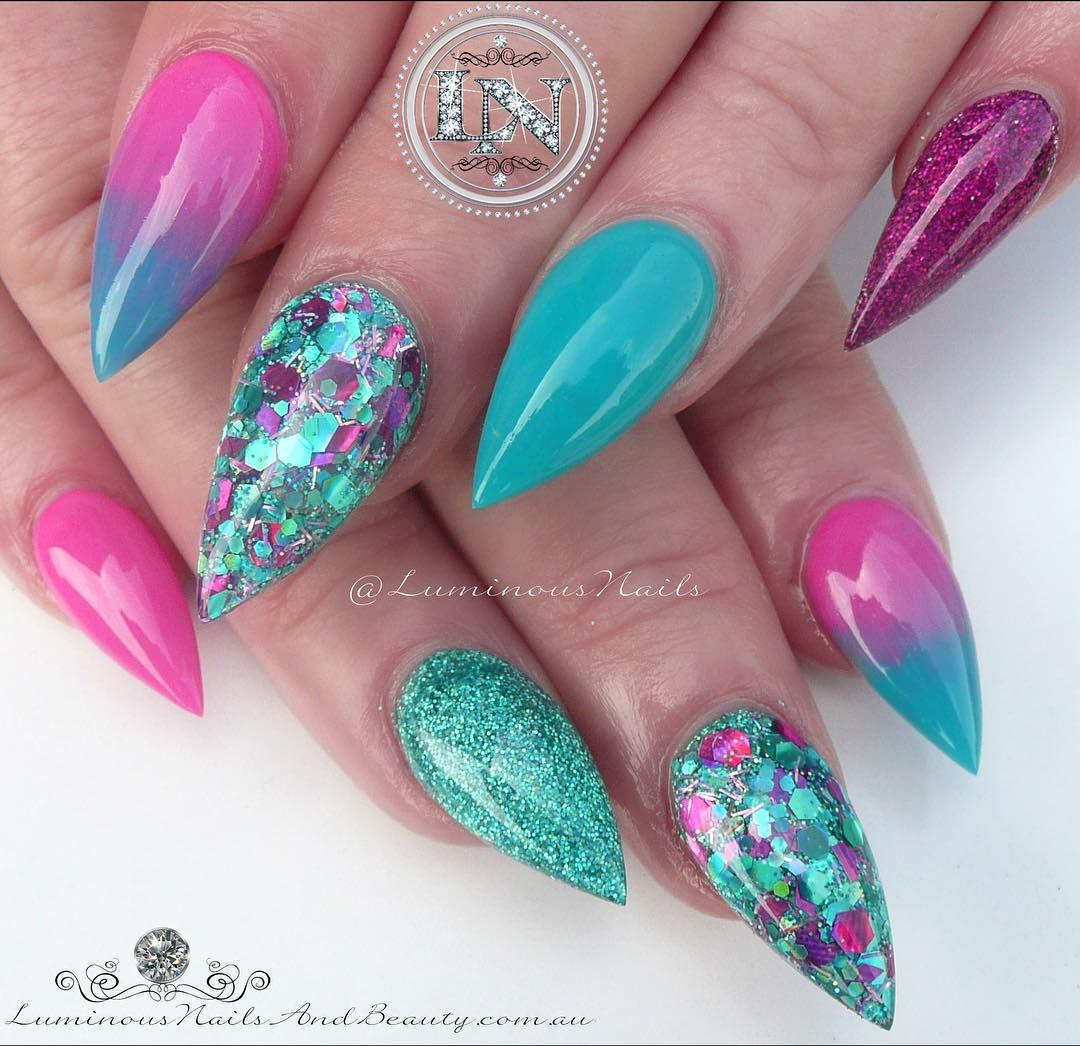 Fuchsia & Turquoise ... Sculptured Acrylic with Young Nails Neon ...