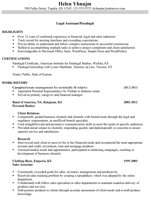 Combination Resume Sample Legal Assistant Paralegal