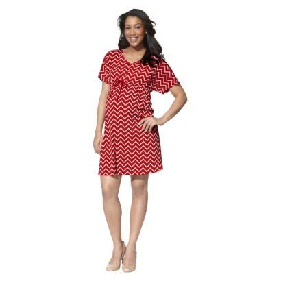 Ma Cherie Maternity Short-Sleeve V-Neck Dress - Red/Khaki
