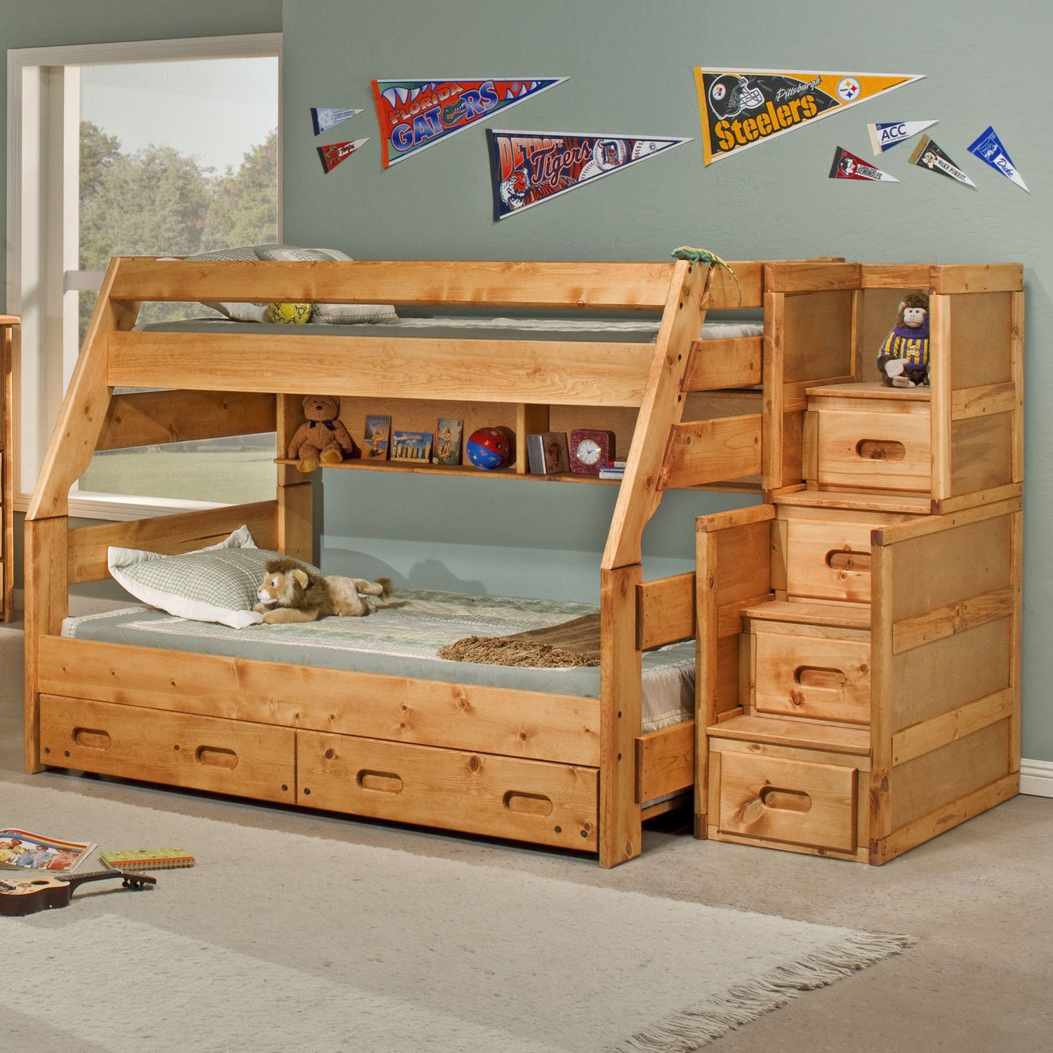 Cool Twin Over Full Bunk Bed With Trundle And Stairs Bunk Bed In