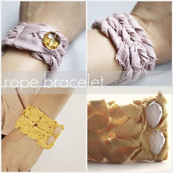 """diy rope bracelet. Not as complicated as it appears, but """"shabby chic"""" is a fine line with ly sewing skills"""