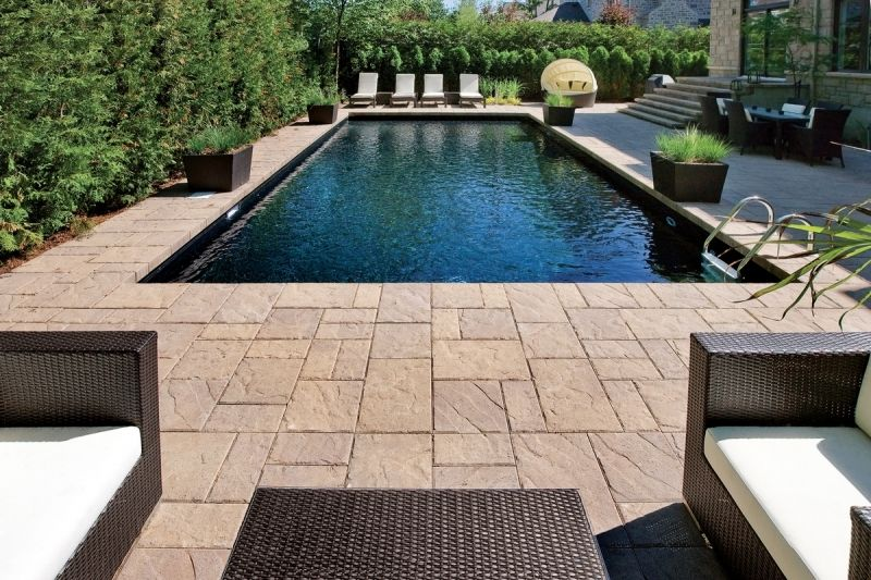 Pool Paver Ideas paver pool deck brown pavers paving stonescapes design hanover The Swimming Pool Decking Around This Pool Is Techo Bloc Blu Paving Bricks Swimming