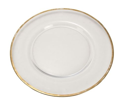 Clear Glass Charger Plate with Gold Band - Simplicity and Elegance ...