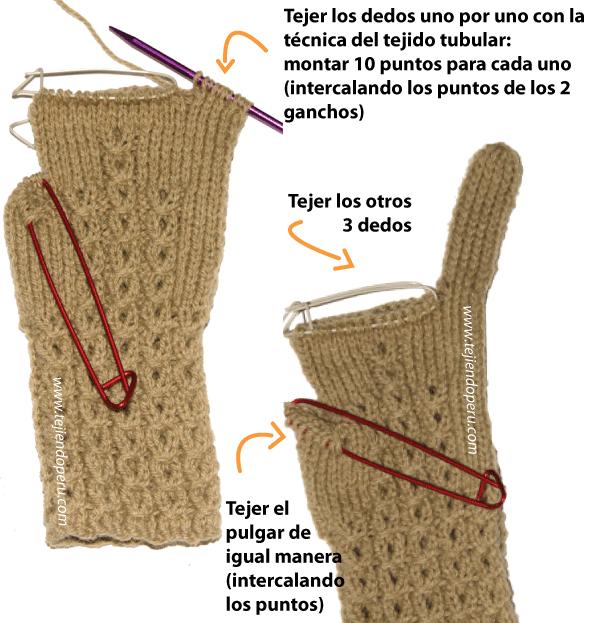 Cómo tejer guantes en dos agujas o palitos en forma tubular! | cris ...