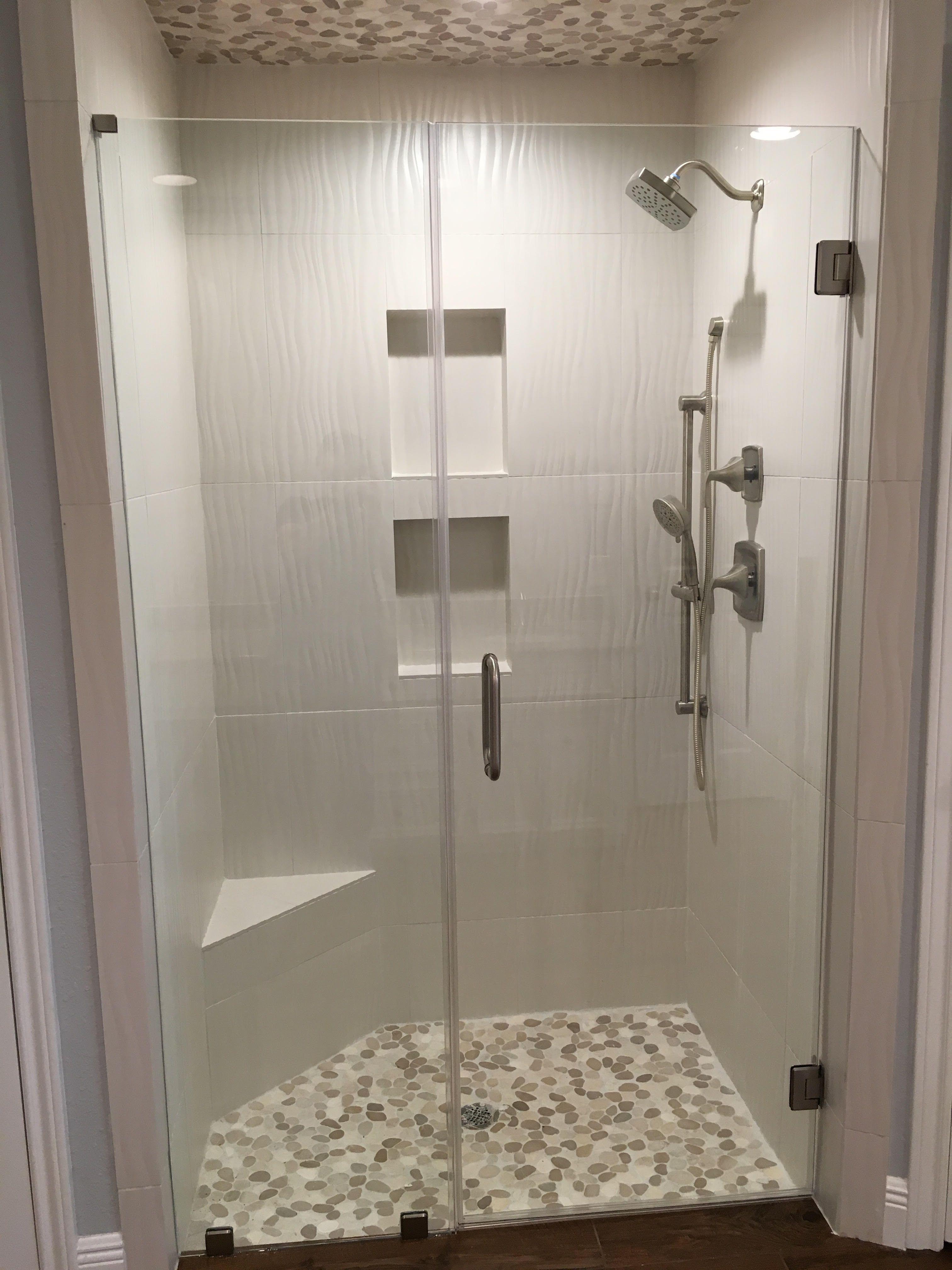 Sliced Java Tan And White Pebble Tile Bathroom Remodel Shower