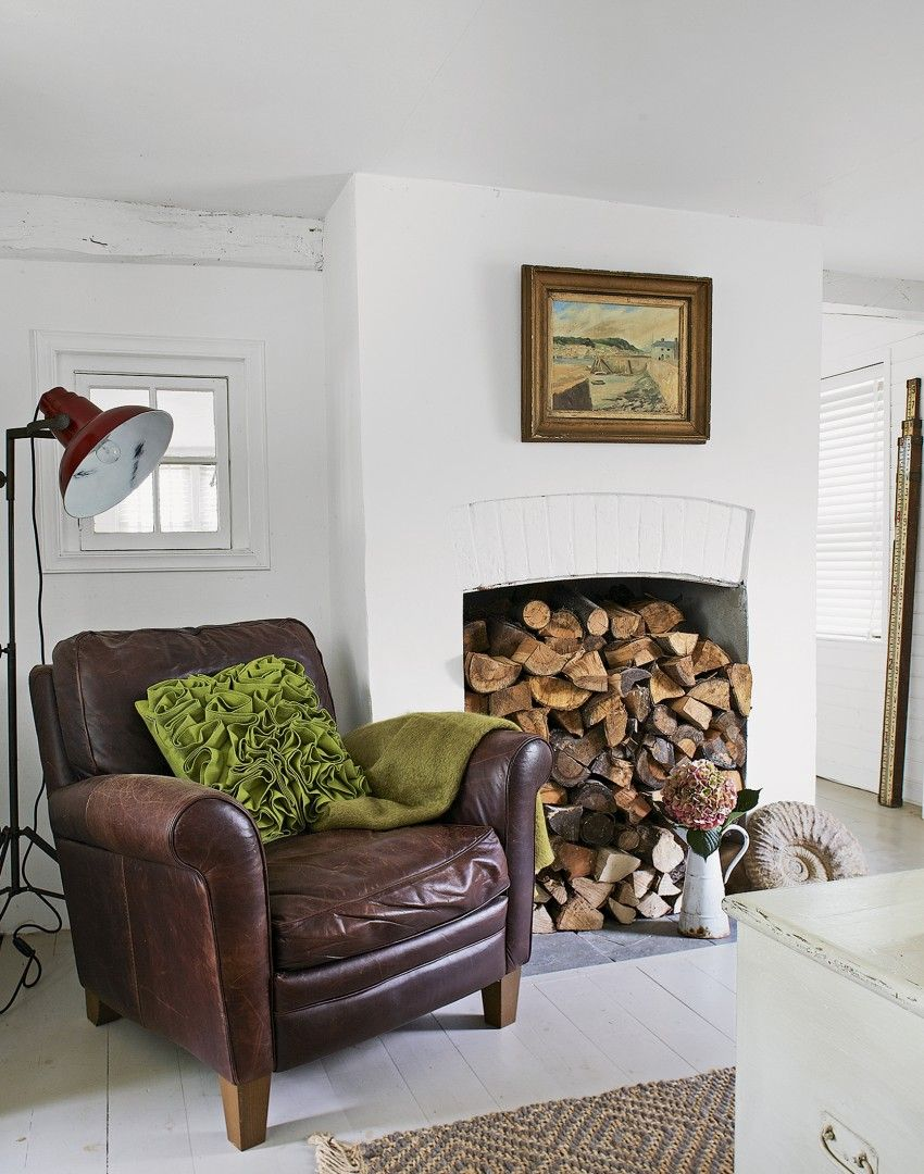 Country Living Room with Log-pile Fireplace | tak | Pinterest ...