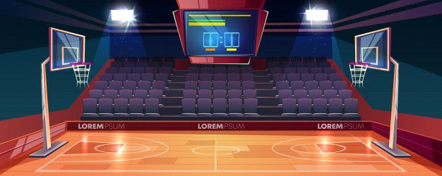 Download Basketball Court With Wooden Floor Scoreboard On Ceiling And Empty Fan Sector Seats Cartoon For Free Basketball Court Wooden Flooring Cartoons Vector