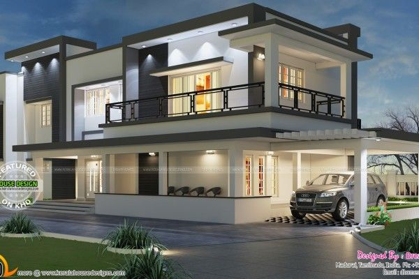 Kerala Home Design And Floor Plans: Modern Flat Roof House In 395 Sq Yd | 2  | Pinterest | Flat Roof House, Flat Roof And Modern