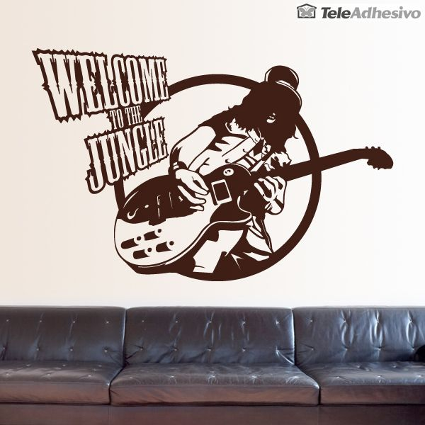 vinilos decorativos guitar welcome to the jungle decoracin pared vinilo jungle