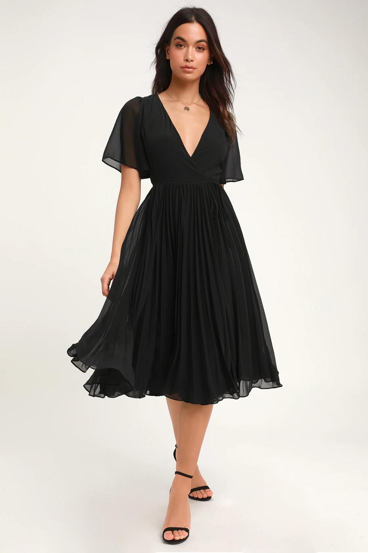 Pleats to Meet You Black Pleated Midi Wrap Dress in 8
