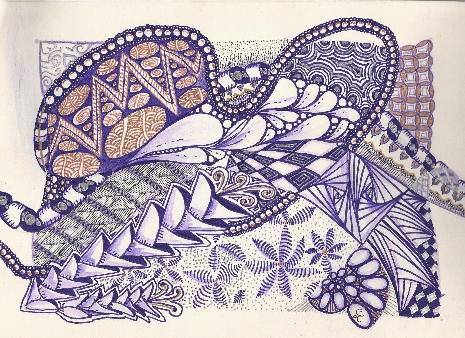 Purple and sparkly doodle coloring tangle doodle and tangled