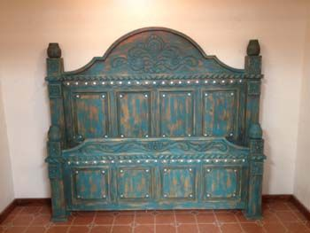 Southwest style turquoise bed with conchos - Southwest style bedroom furniture ...