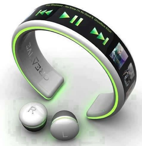 Increíble reproductor de pulsera y micro ear phone diseñado por creative electronics