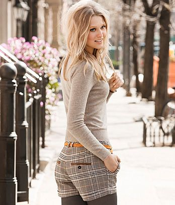 I love wearing leggings or tights with my shorts. A perfect way to transition into fall.
