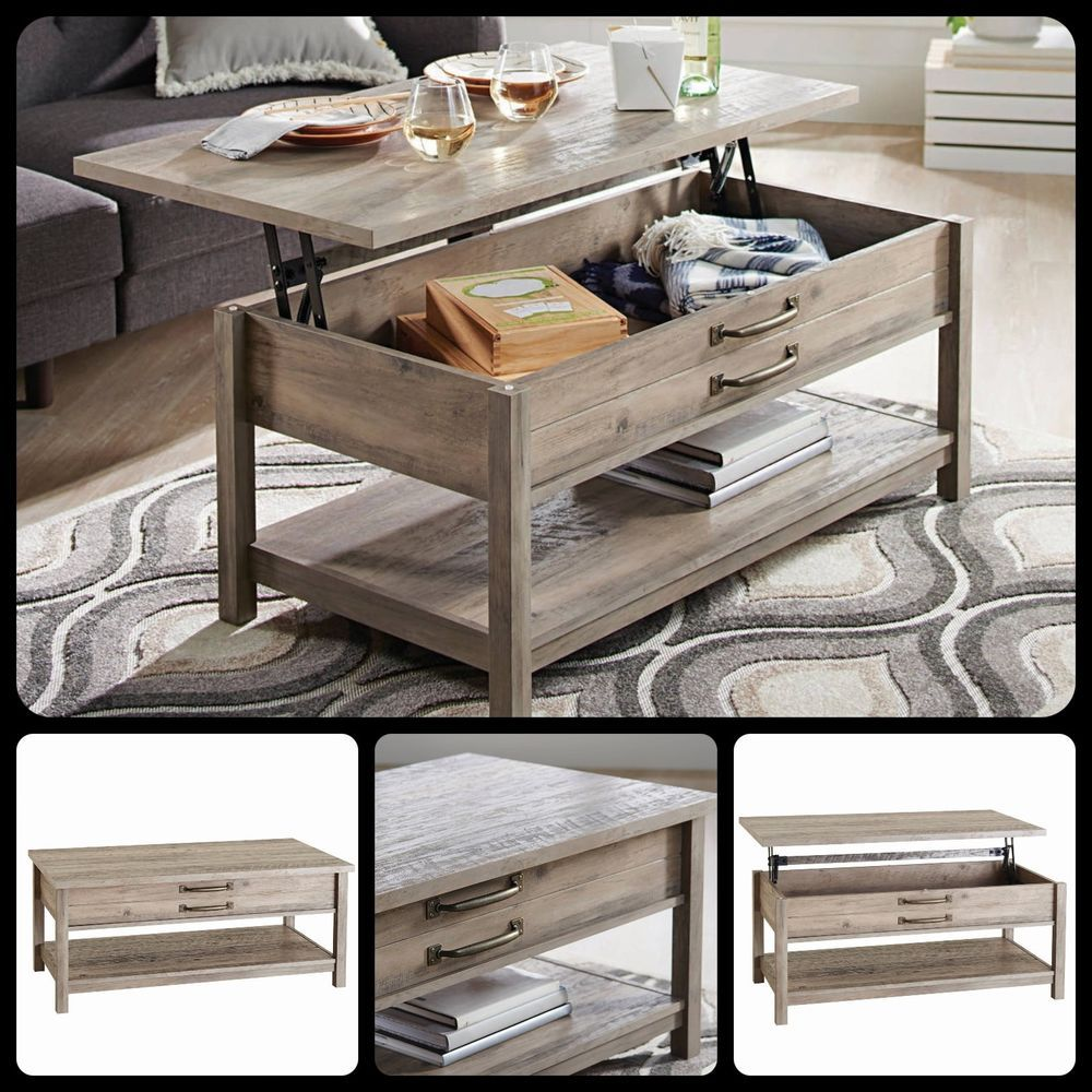 Farmhouse lift top coffee table rustic wood living room