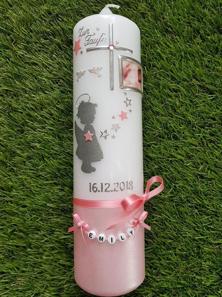 Taufkerze Engel Tk154 A U Zartrosa Rosa Silber Holoflitter Foto