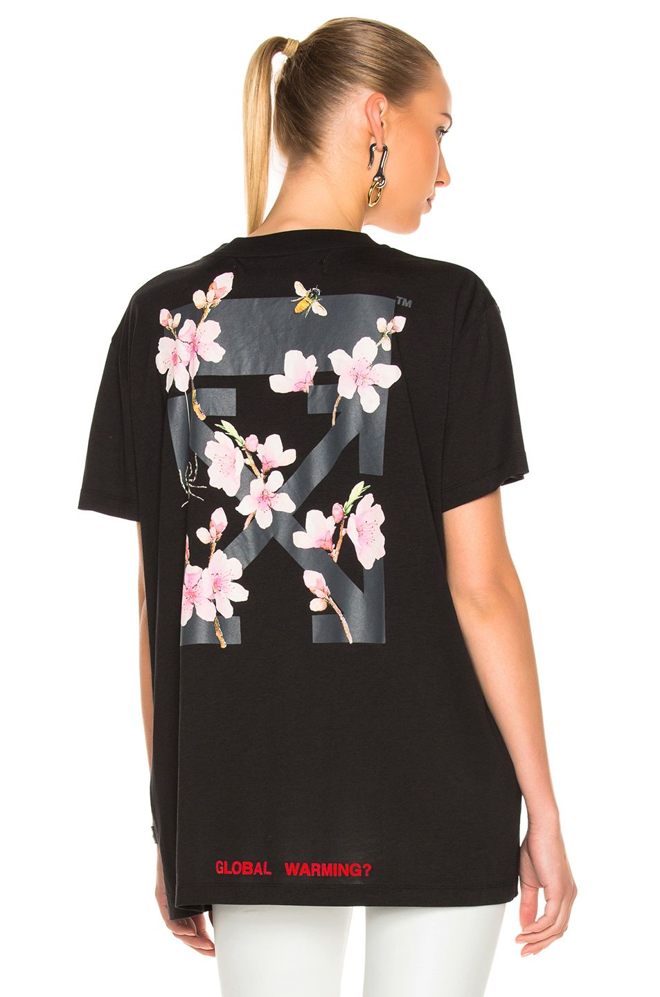 92b355ee97f5 OFF-WHITE Cherry Flower Oversized Tee in Black Multi