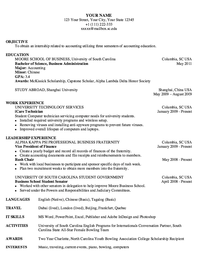 Example Of Rush Chair Resume  HttpExampleresumecvOrgExample