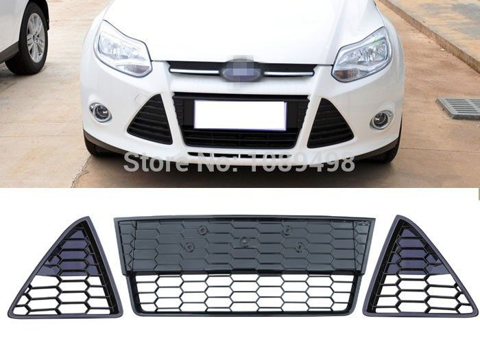 1 Set Rh And Lh And Middle Mesh Fashion Spary Painted Honeycombed Nest Bee Grille Kit For Ford Focus 3 Iii 2012 2014 Ford Focus Ford Focus 3 Ford
