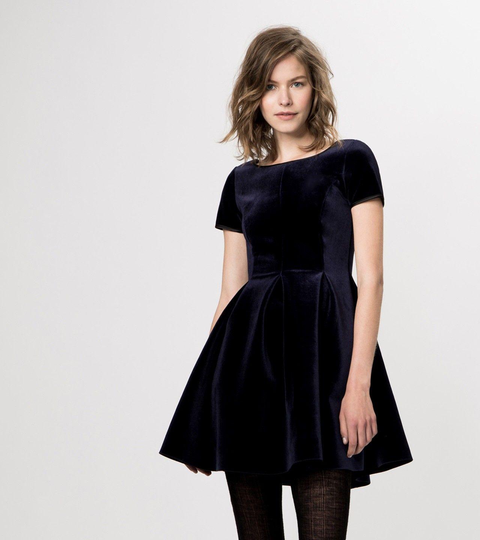 maje KACHETTE Stretch Velvet Skater Dress at Maje US ...