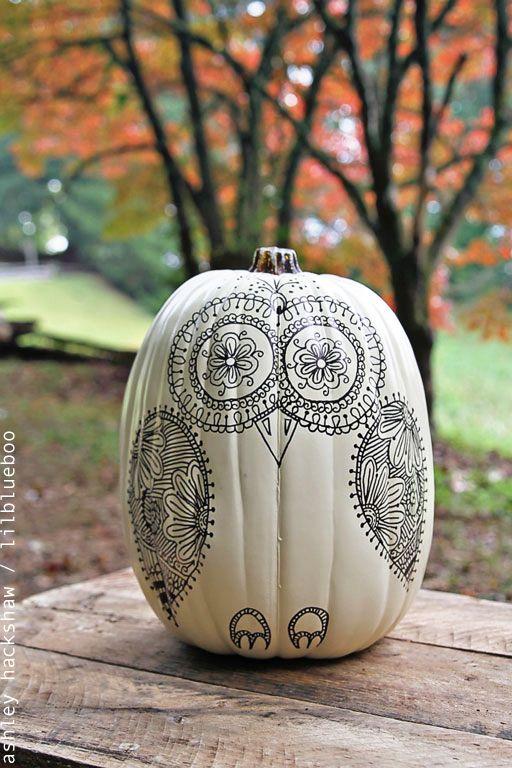 A Sugar Skull Owl Pumpkin Using Sharpie Project Idea