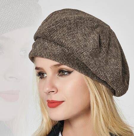 319b0b159d7 Vintage plaid wool beret hat for women autumn winter hats  TopHatsForWomen   HatsForWomenFashionable