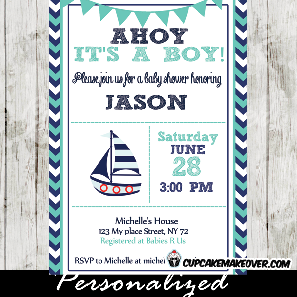 Printable Turquoise And Navy Blue Nautical Sailboat Baby Shower Invitation  To Celebrate The New Arrival.
